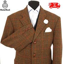 Harris Tweed Jacket Blazer Size 46R Dogtooth Country Weave Hacking Hunting Brown