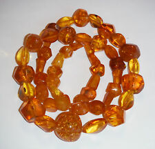 """65gr. Natural Authentic Baltic 28"""" Amber Butterscotch Egg Yolk  Bead Necklace"""