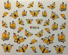 Nail Art 3D Decal Stickers Yellow Butterfly K013