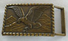 EAGLE FLYING SOARING MOUNTAINS BRASS TONED BELT BUCKLE