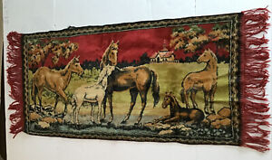 """Vintage Tapestry Wall Hanging Equestrian Horses 18"""" X 38"""""""