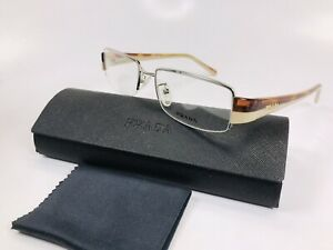 ✴ New Prada VPR 74H 78S-1O1 Transparent Havana & Beige Eyeglasses 53mm with Case
