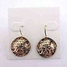 Sand dollar earrings dangle gold tone pierced ears