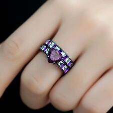 14K Black Gold Multi Color Stone Studded Designer Fine Wedding Women's Ring Set