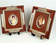 Portrait miniature RITRATTI FEMME Dipinto Quadro con cornice Preziosa coppia