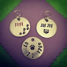 Personalised Hand Stamped Cat Collar ID Tag Handmade Bespoke Custom Gift.