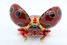 Bejeweled Alloy Enamel Ladybug Trinket Box with Rhinestones