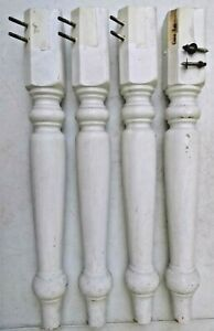 """4 Wooden Furniture Table Legs 28 1/2"""" Tall No Hardware for Restoration WHITE"""