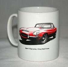 Classic Car Mug. Jaguar E-Type S1 DHC & Horn Push hand drawn illustrations.