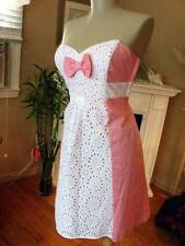 NWT BETSEY JOHNSON VINTAGE PINK & WHITE EYELET COTTON DRESS~10  **sale**