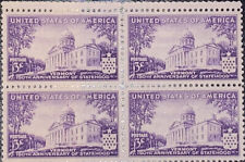 1941 3c Vermont Statehood Stamps Mint Block of 4