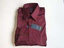 Arrow Classic-Fit Sateen Shirt No-Iron Point-Collar Manogany Sz.16 32/33 #46