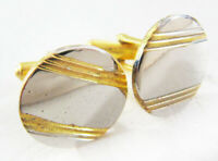 Funky Vintage 1980's Chrome And Gold Tone Cufflinks