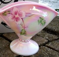 RARE one FENTON PEDASTOL Floral VASE PINK PEARL OPALESCENT Signed C.Mackey  HP