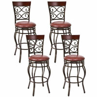 Set of 4 Vintage Bar Stools Swivel Padded Seat Bistro Dining Kitchen Pub Chair