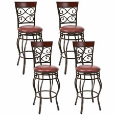 Costway 4 Vintage Bar Stools Swivel Padded Seat Bistro Dining Kitchen Pub Chair