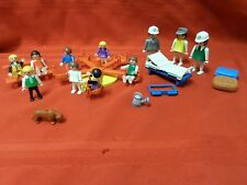 VINTAGE 1970s GEOBRA PLAYMOBILE FIGURES WITH ASSORTED ACCESSORIES AND 11 PEOPLE