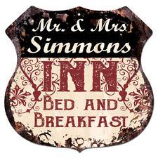 BPLI0103 Mr & Mrs SIMMONS INN Bed & Breakfast Custom Personalized Tin Sign
