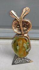 bronze, sculpture signée yves lohé, chouette, verre soufflé n°2