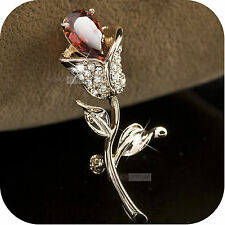 18K ROSE GOLD GP MADE WITH SWAROVSKI CRYSTAL LUXURY FLOWER TULIP LEAVES BROOCH