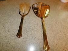 #01293 Vintage Vanity Dresser Set Hand Held Mirror Hair Brush Gold Diamond Accen