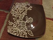 """Jaclyn Smith Global Floral Square Salad Replacement Plate 8"""""""