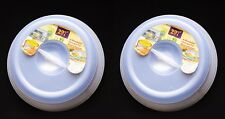 Set of 2 Microwave Food Cover Plate Clear Plastic Lid Vented Splatter Protector