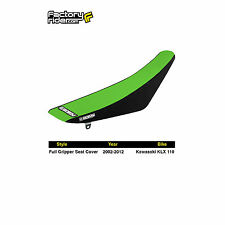 2002-2009 Kawasaki KLX 110 Black/Green FULL GRIPPER SEAT COVER BY Enjoy Mfg