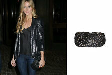 RARE ZARA BLACK STUDDED LEATHER SUEDE BAG CLUTCH OLIVIA PALERMO
