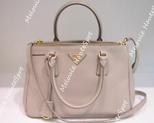 AUTH PRADA TOP HANDLE ZIP GRAY POMICE BN1801 SMALL DOUBLE ZIP CROSS TOTE BAG