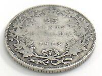 1913 Canada Twenty Five 25 Cents Quarter Canadian Circulated George V Coin J737