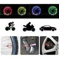 2 x LED Lampe Flash Rad Reifen Ventilkappe Licht Fürs Auto Fahrrad Motorrad#$