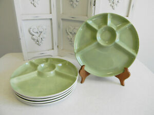 "William Sonoma Jade Green ""Jasmine"" Divided Fondue Plates"