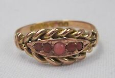 Antique Victorian 9ct Gold Undyed Salmon Coral Ring Chester 1902