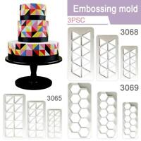 3Pcs Plastic Geometry Cookie Cutter Fondant Cake Mold DIY Cake Decorating Tools