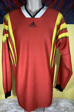 Vintage Adidas Long Sleeve Print Soccer Jersey Shirt Size Medium Red / Yellow