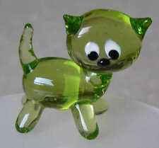 Miniature : chat vert en verre - pour collectionneur