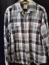 Timberland Men's XL Button-Front Long Sleeve Plaid Shirt Gray White Red White