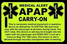 Hi-Viz Yellow Carry-On APAP  Bag Tag - TSA - CPAP BiPAP APNEA POC