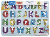 Melissa & Doug Disney Classics Alphabet Wooden Peg Puzzle (26 pcs) Learning Toy