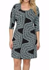 Karen Kane Blue/Black Plus Size Confetti Geo Print Stretch Jersey Dress - $118