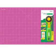 Schneidematte set , Schneideunterlage A2 (45x60cm) Pink + 1 Rollschneider mit Me