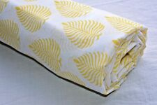 5 Yard Indian Running Sewing Cotton Fabric Print Yellow Leaf Decor Hand Block