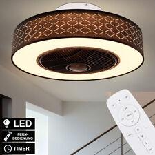 LED Ventilador de Techo Mando a Distancia 3-Stufen Negro y Oro Timer Lámpara Luz