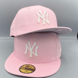 New York Yankees New Era MLB Fitted Pink Hat Gray Bottom