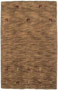 Brown Small Entrance Hand-Loomed 3X5 Oriental Modern Rug Contemporary Carpet