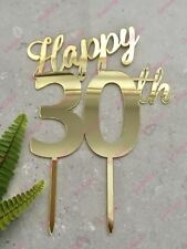 Happy 30th Birthday Cake Topper Acrylic Gold Mirror