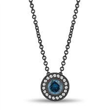 Enhanced Blue Diamond Pendant Necklace 14K Black Gold Vintage Style 0.45 Carat