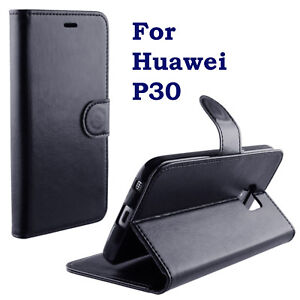 BLACK PU LEATHER WALLET CASE COVER KICKSTAND CASE FOR HUAWEI P30