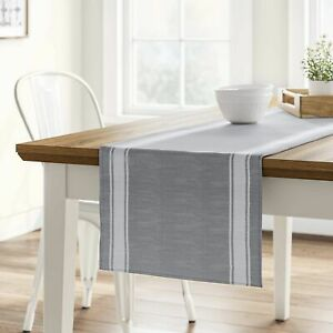 """NEW 72 x 14"""" Cotton Striped Bistro Table Runner Gray by Threshold"""